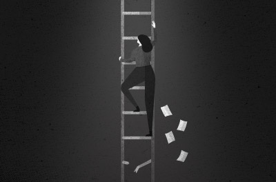 A grayscale illustration of a woman climbing up a ladder toward an open hole. Papers are falling behind her.