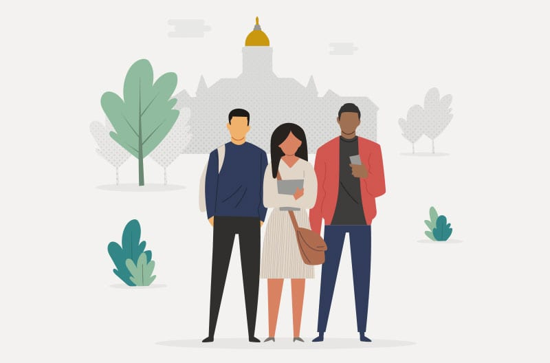 An illustration of three students standing in front of Notre Dame's main building.