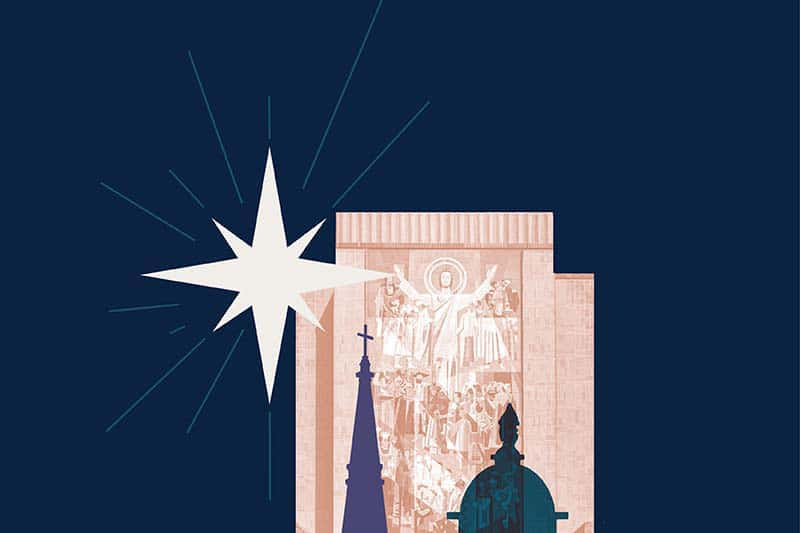 An illustration of a star, Hesburgh Library, the Basilica and Golden Dome.