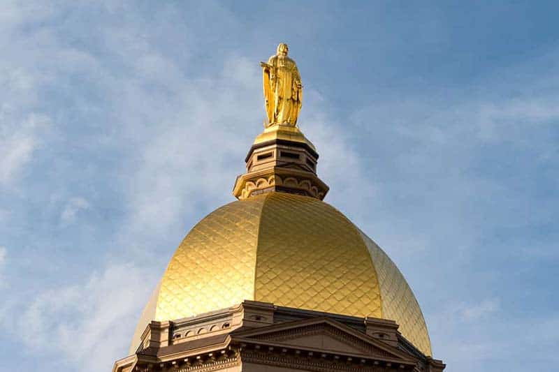 Notre Dame Golden Dome shines on a snowy, clear day.