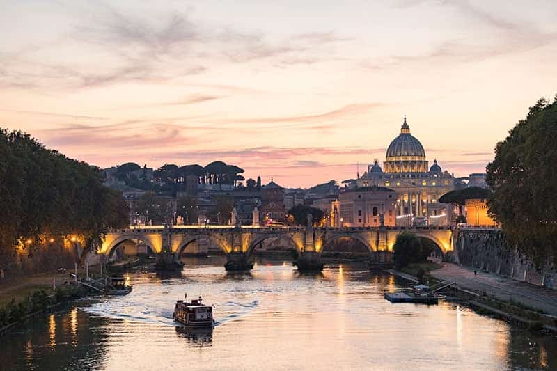 Italy, Rome - River Tiber at dusk.