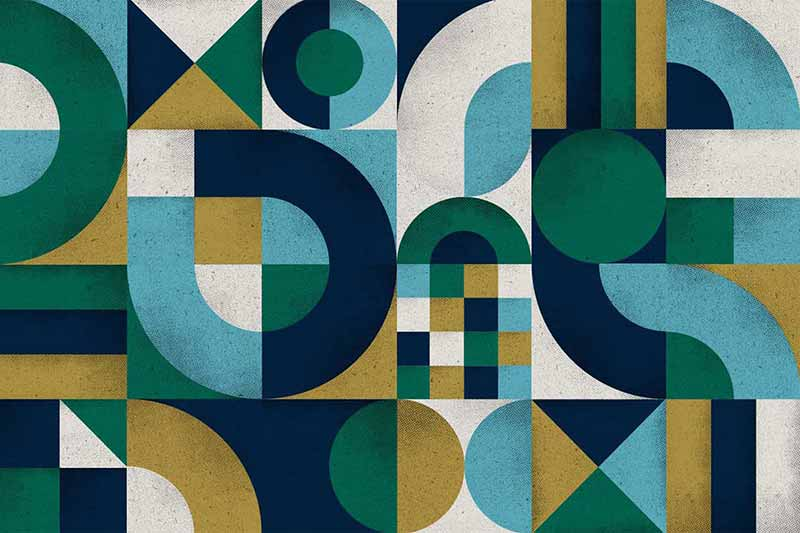An abstract mosaic of colors and patterns.
