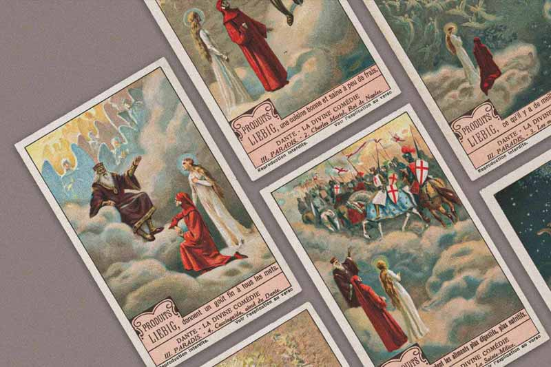 Set of six trading cards with scenes of Dante's Paradiso published by Produits Liebig, circa 1920.
