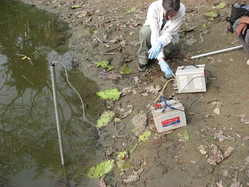 Culligan collects water sample.