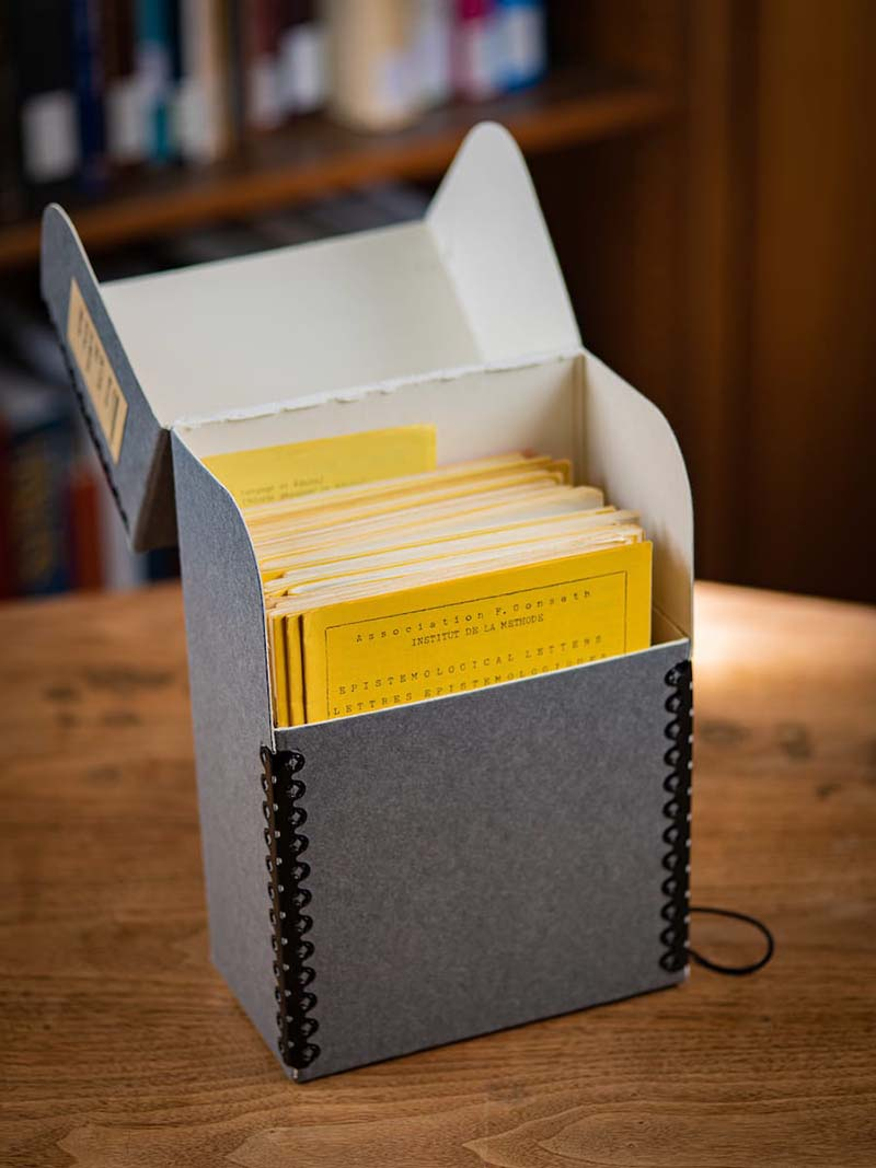 A box of the journals in the library.
