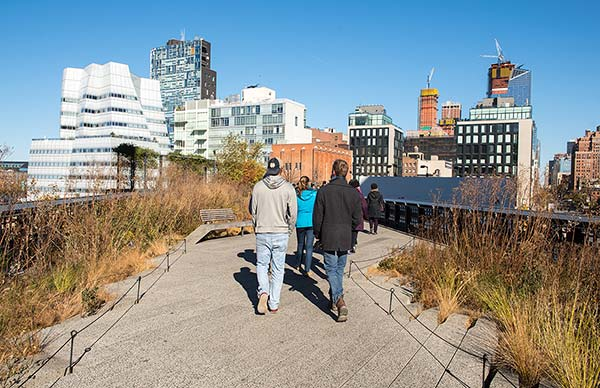 Students walk on the High Line
